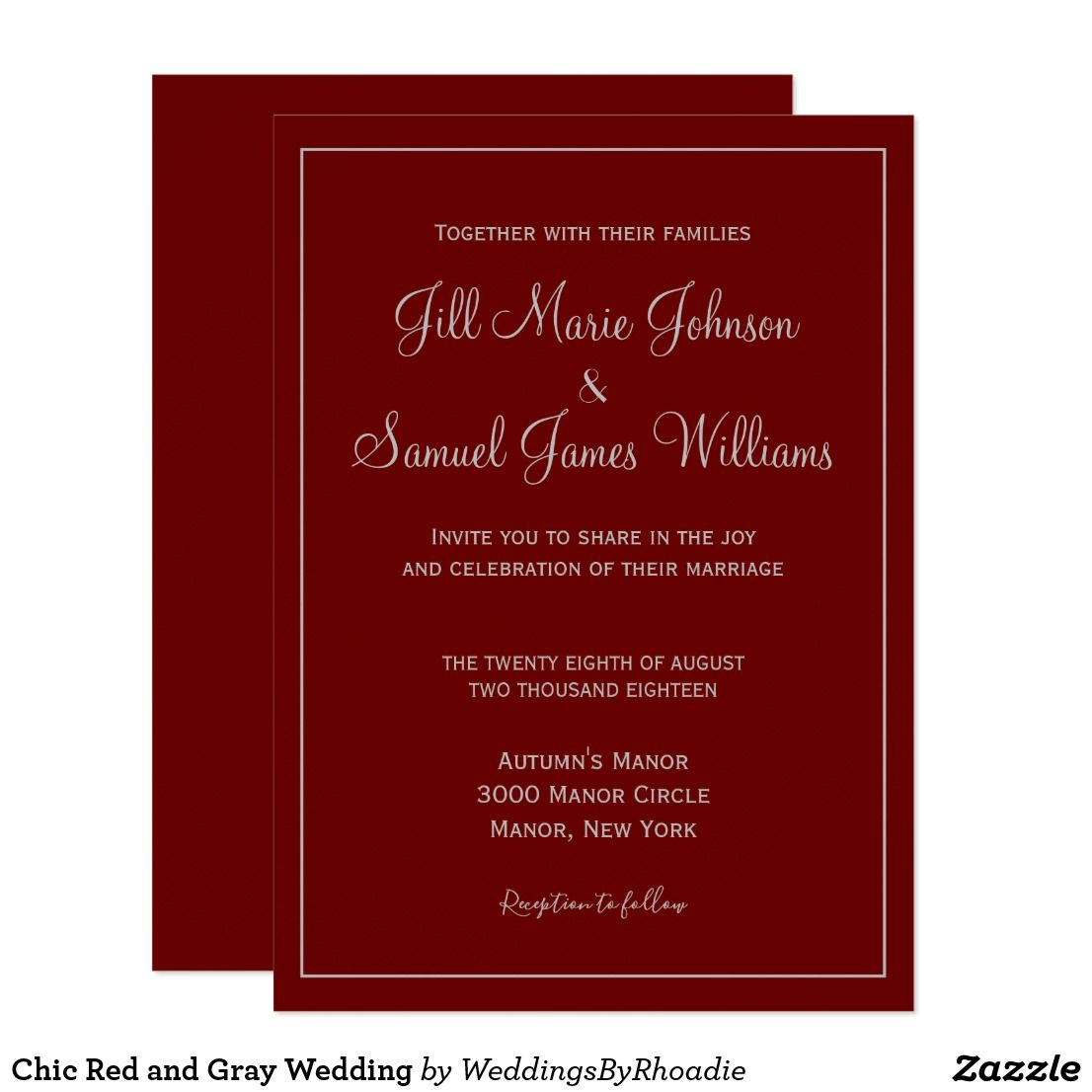 Chic Red and Gray Wedding Invitation in 2018 | Bridal | Pinterest ...