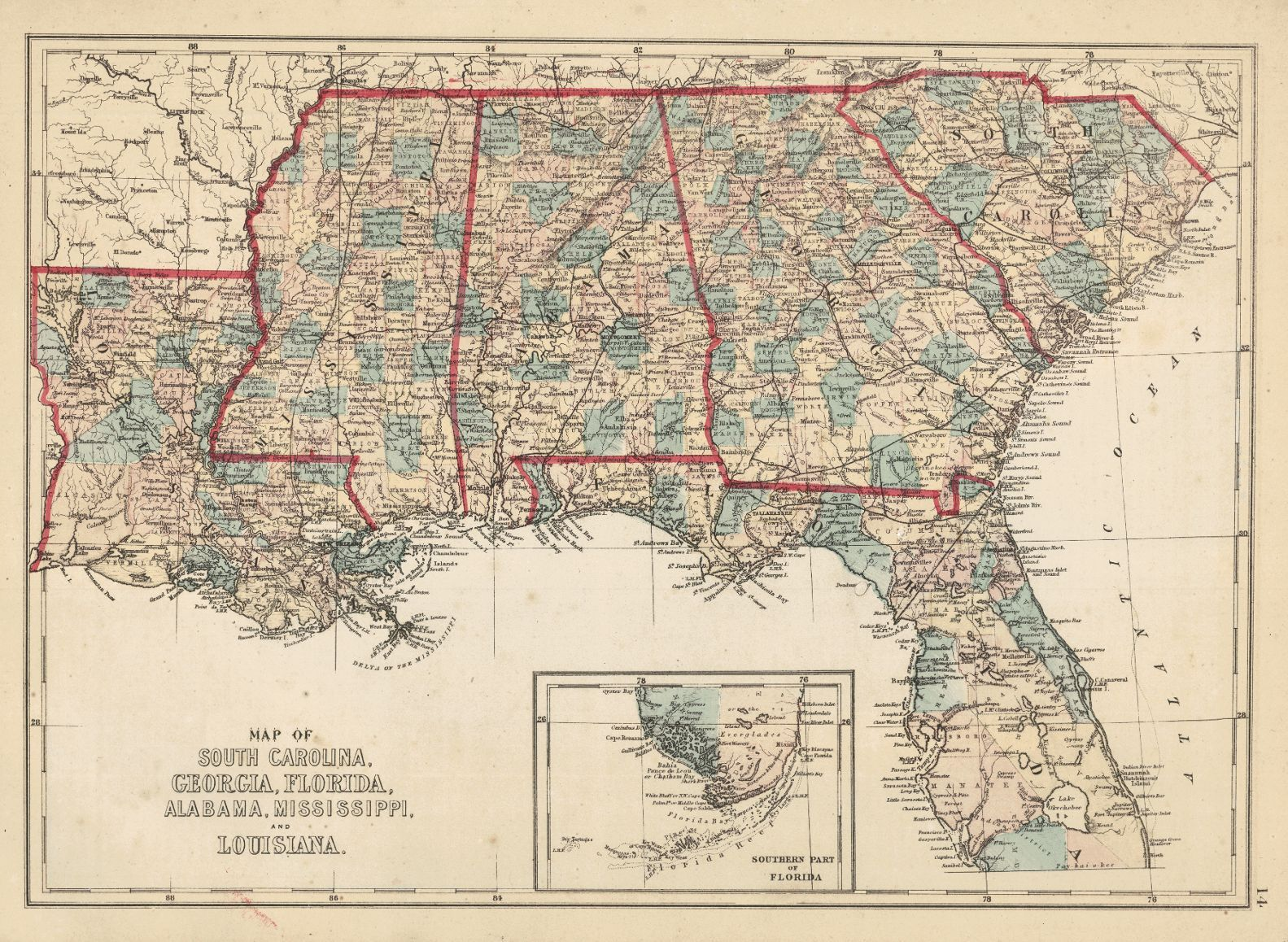 Map of South Carolina, Georgia, Florida, Alabama