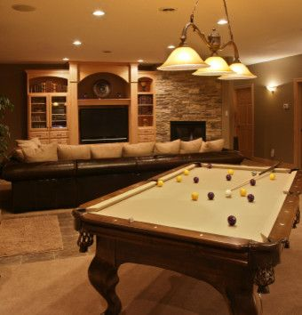 Diagonal pool table lose the pool tablei love the background wall this remodeled basement comes complete with a pool table and a full stone tile fireplace beside the tv the pool table light along with the recessed and greentooth Image collections