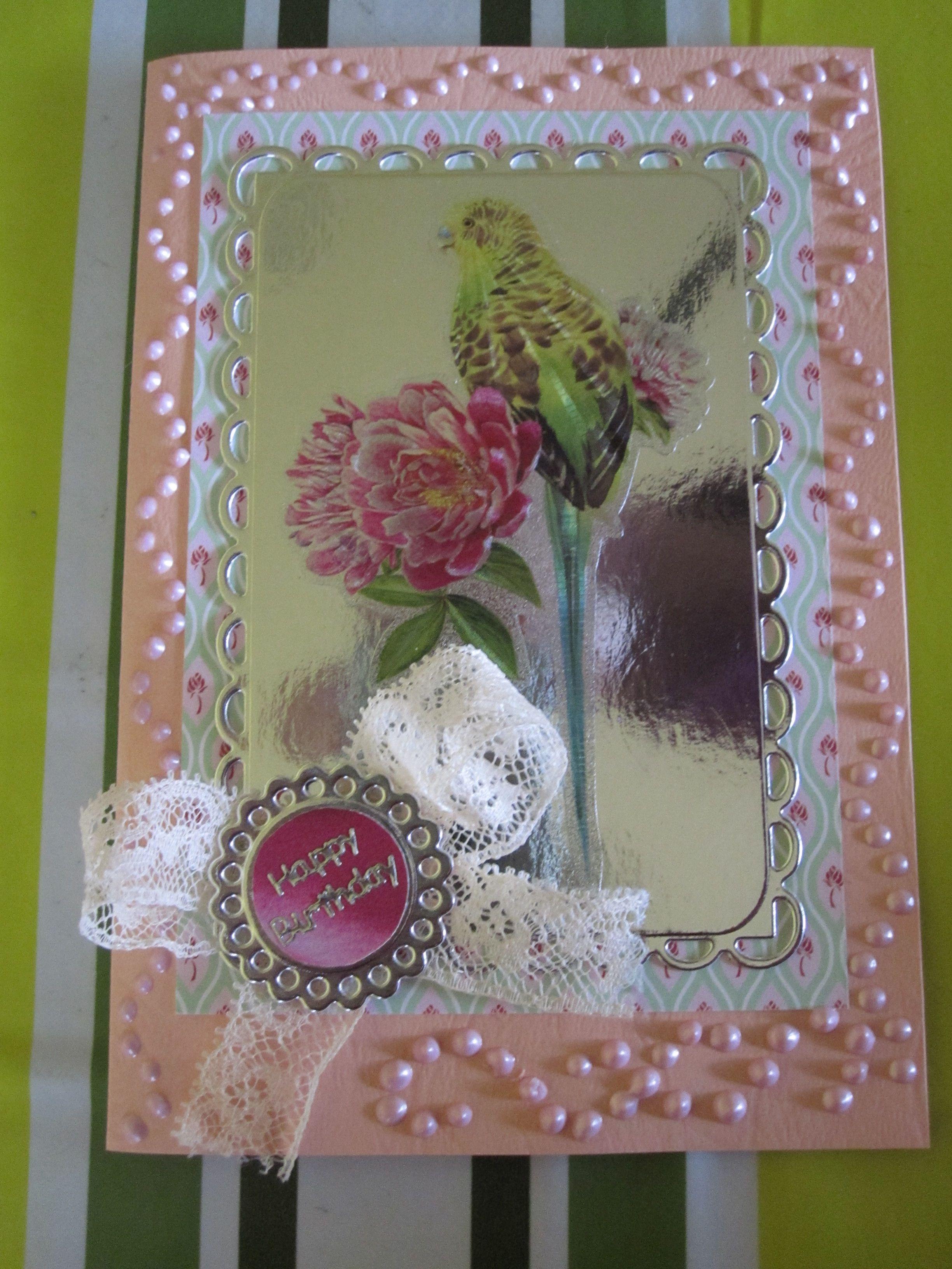 Happy Birthday - vielleicht etwas zu viele Perlen im Rahmen ...