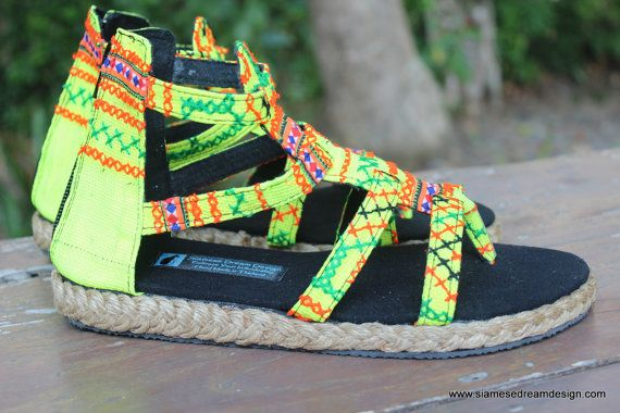 18a44d0807a4f Boho Gladiator Womens Sandals In Yellow Hmong Embroidery Summer ...