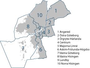 göteborg stadsdelar karta Gothenburg's 10 districts (Stadsdelsnämnder) | Göteb| Pinterest göteborg stadsdelar karta