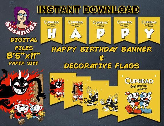 d3bdd4c568d CUPHEAD banderas Happy Birthday y banderas de personajes en