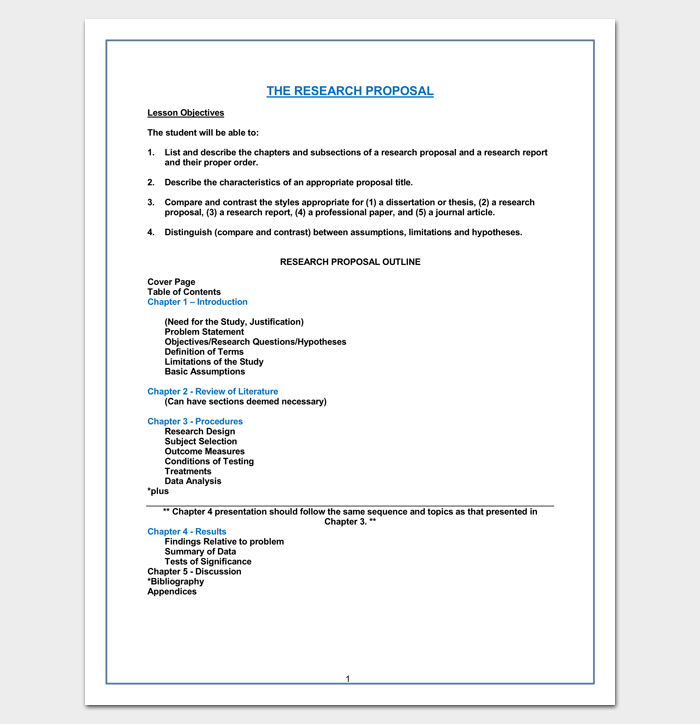 Research Proposal Chapter Outline Word Doc