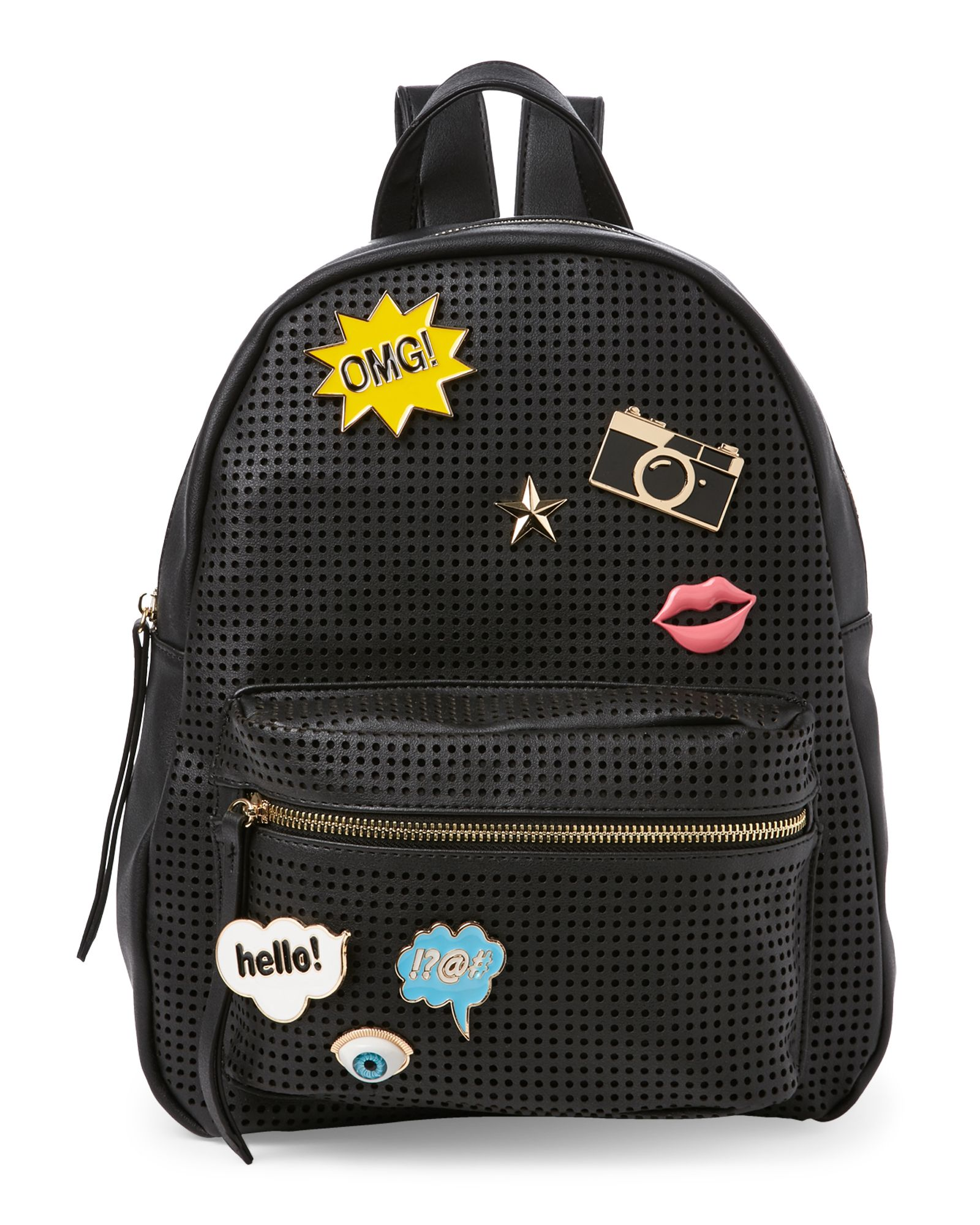 eae7b34ff05 Black Pin-Accented Perforated Backpack in 2019 | *Apparel ...