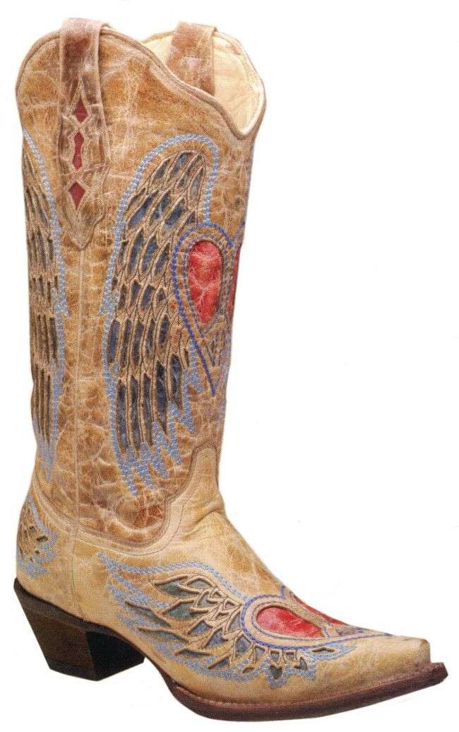 Women's Antique Saddle Heart with Wings Boot by Corral Boots ...
