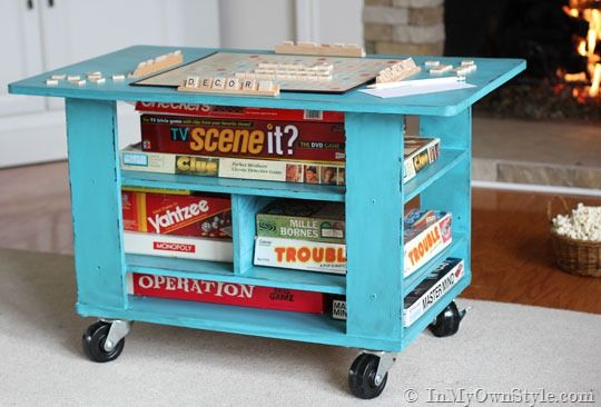 How To Turn A Coffee Table Into A Rolling Game Table Board Game Table Board Game Storage Table Games