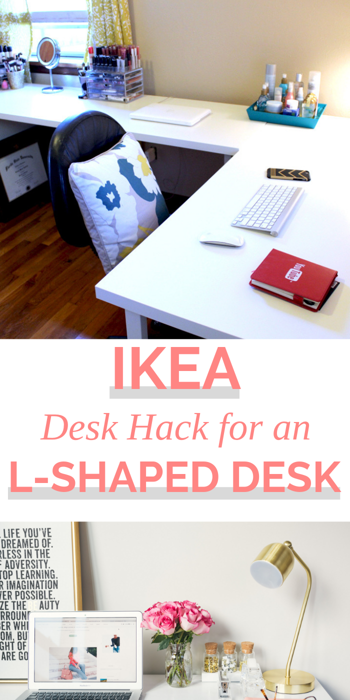 Affordable White L Shaped Desk Follow My Ikea Hack For This Office Desk Setup Using Two Linmon Desks And An Alex Drawe L Shaped Desk Ikea Desk Hack Ikea Desk