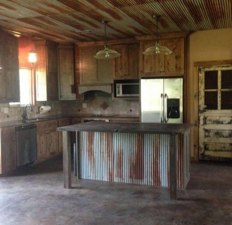 43 Smart Rustic Farmhouse Kitchen Cabinets Remodel Ideas Rustic Farmhouse Kitchen Metal Backsplash Kitchen Rustic Kitchen