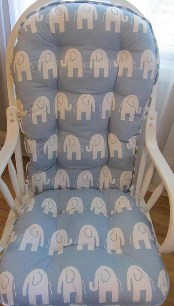 Glider Or Rocking Chair Cushions Set In Weathered Blue With Seat