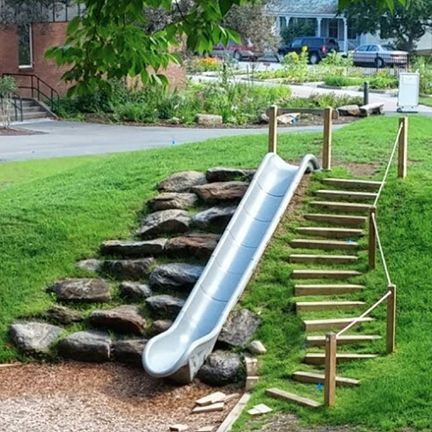 Embankment Slide W Sit Down Bar Creative Outdoor Play
