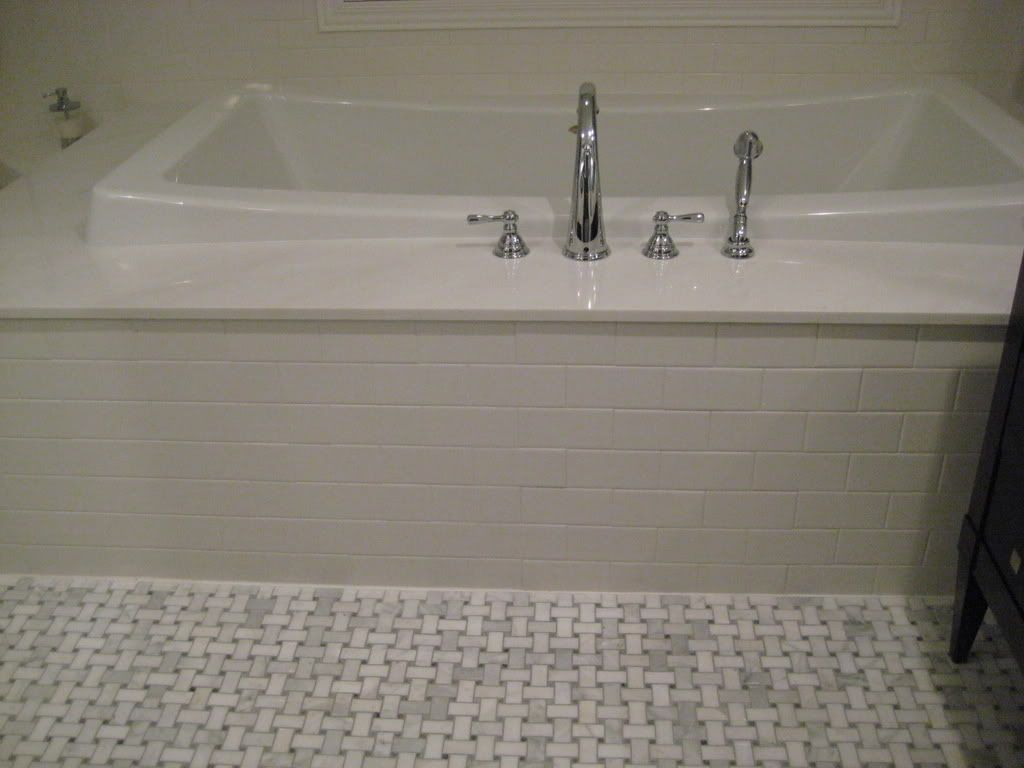 Mrs limestone inspired bathroom photos bathrooms forum 30 great pictures and ideas basketweave bathroom floor tile dailygadgetfo Image collections