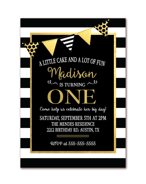 1st birthday invitation black white stripes gold birthday party
