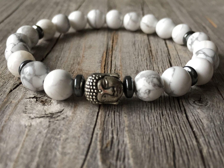 Men gemstone bracelet, Buddha men bracelet, stretch stacking bracelet, men mala…