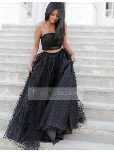 9279038f6c6 Gorgeous Two Piece Crop Top A-Line Strapless Taffeta Black Prom Dress  ItemBl0060