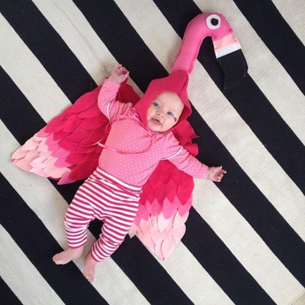 Baby Flamingo Halloween Bubble Costume Plush NEW 2T