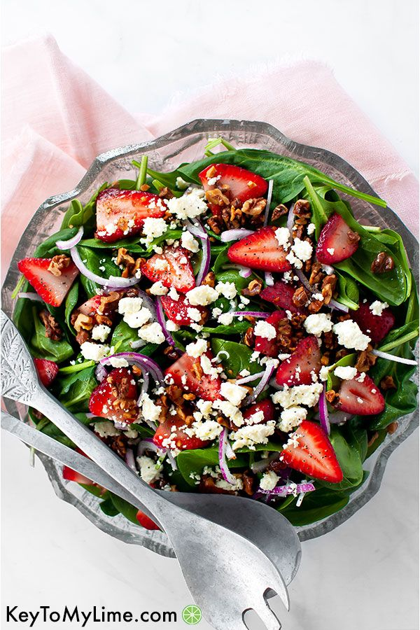 Strawberry Spinach Salad with Feta (VIDEO) - Key T
