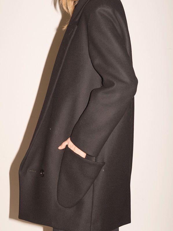 Hussein Chalayan SIGNATURE STATION POCKET COAT, BLACK : Minimal + Classic