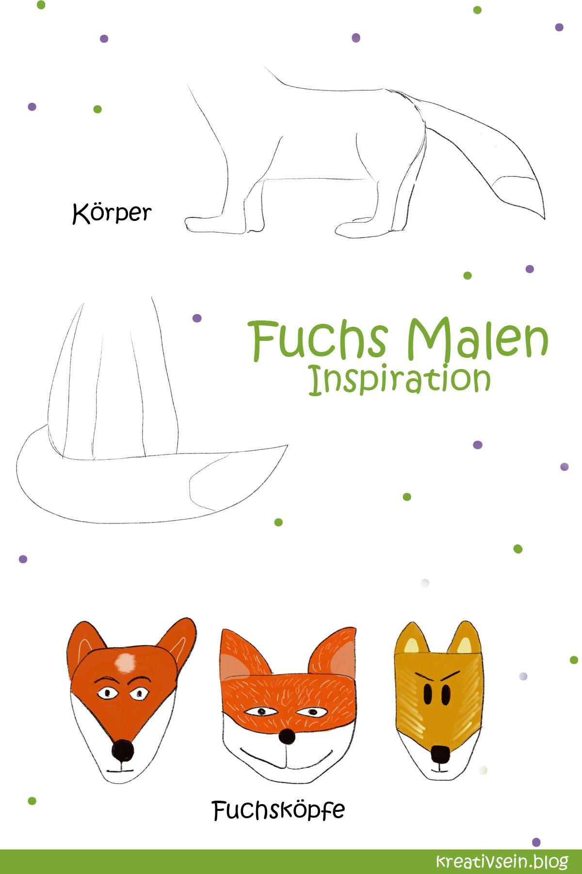 Fuchs Malen Mit Vorlage Geht Es Ganz Einfach Kreativsein Blog Fuchs Zeichnen Tiere Malen Fuchs