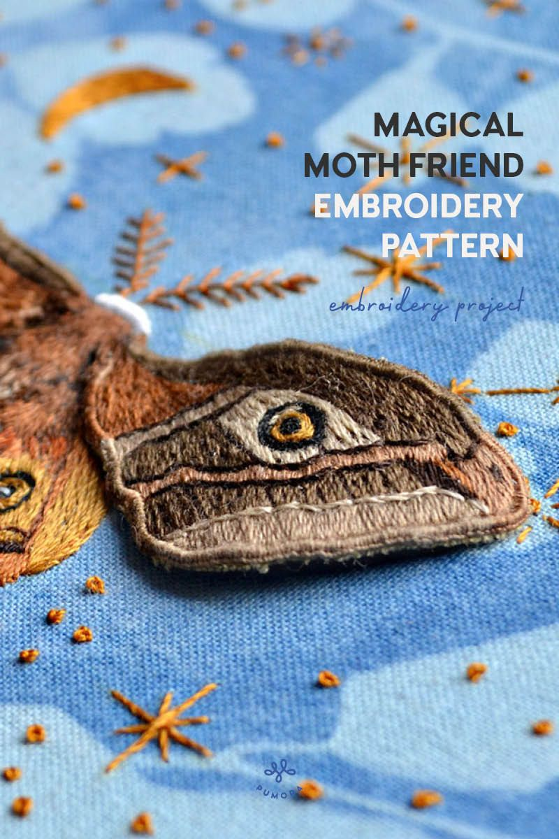 Magical Moth Friend embroidery pattern by Emillie Ferris #embroiderypatternsbeginner