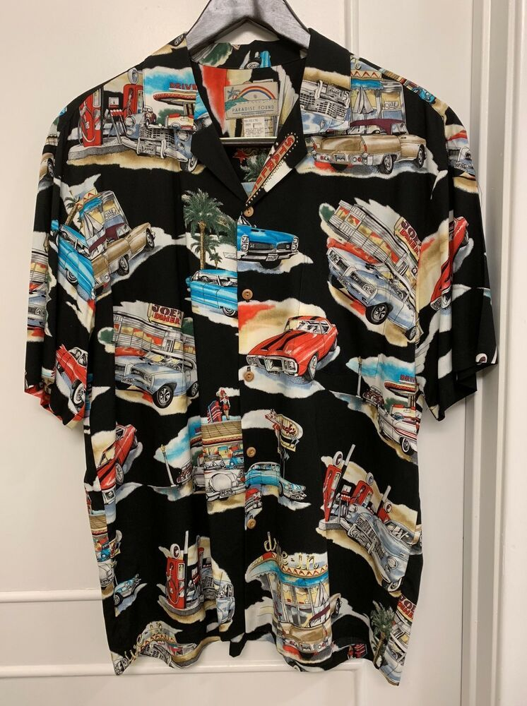 afd2b8bf VTG☀Paradise Found☀Sz L Men's Button Up Shirt Diner Cars GTO Cadillac  Hawaiian | eBay