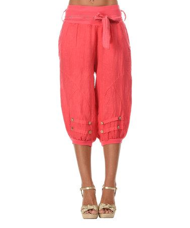 Love this Coral Linen Harem Pants by Etienne Marcel on #zulily! #zulilyfinds