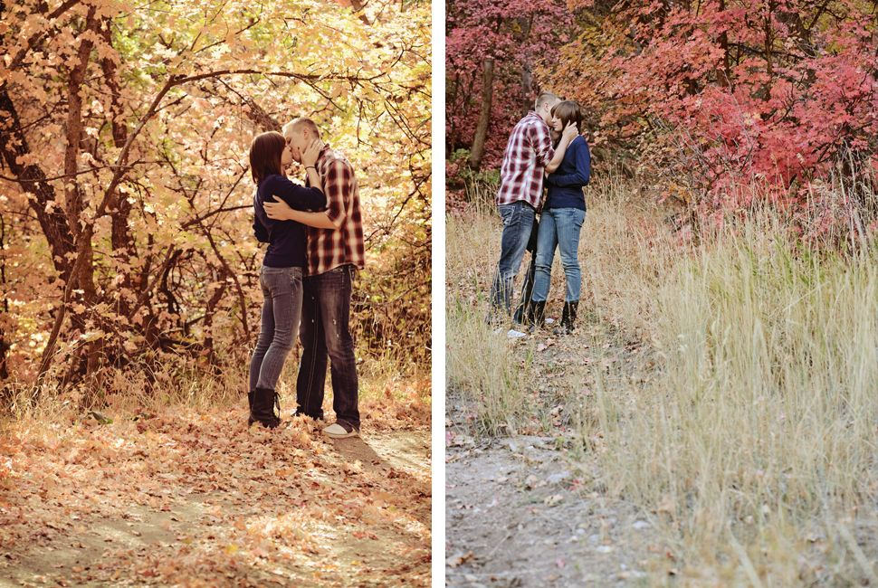 www.frostedproductions.com | #utah #photographer #engagement #photography #beautiful #fall #leaves #walking #down #trail #cute #couple #kissing