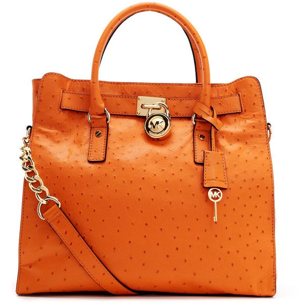 de9fb00b5148 MICHAEL Michael Kors Large Hamilton Ostrich-Embossed Tote Bag ($398). My  baby!