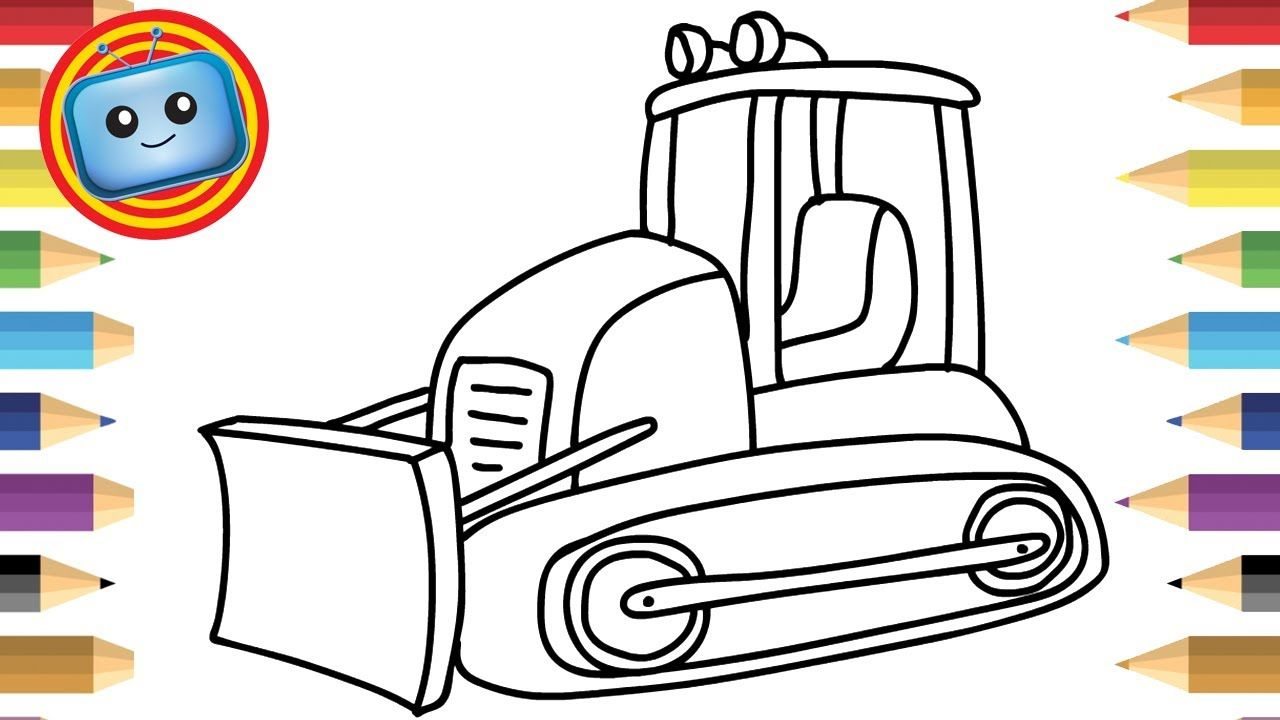 How to Draw a Bulldozer | Colouring Book | Simple Drawing Game ...