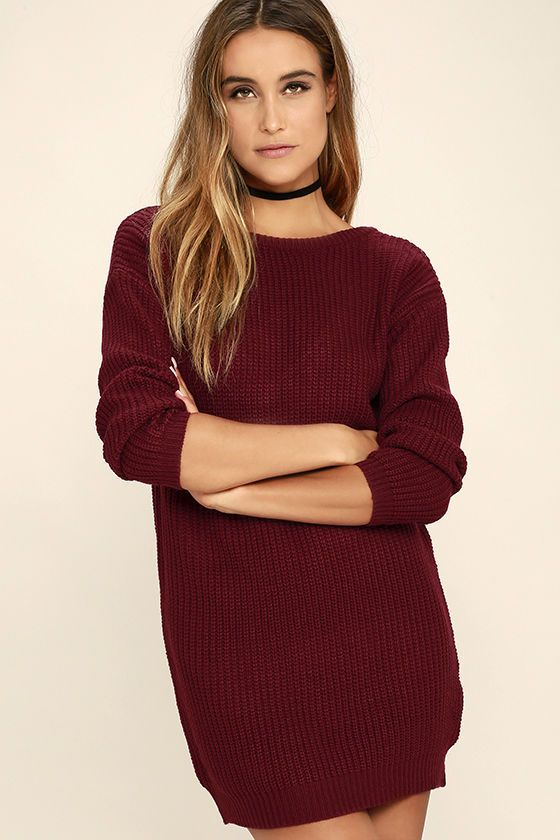 The Bringing Sexy Back Wine Red Backless Sweater Dress brings a little edge to those chilly days by the fire! A rounded neckline and long sleeves bring all your favorite sweater elements to this dress, with a relaxed shape and deep V-back.