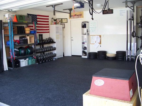 Very organized garage gym nice space