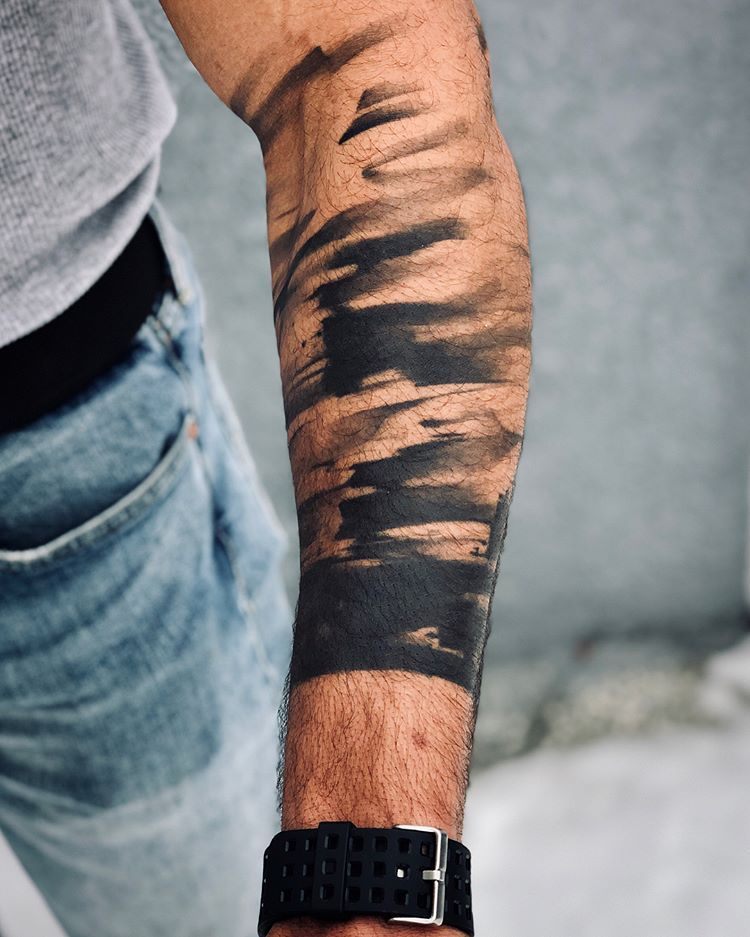 "Melanie Steinway on Instagram: ""Client came in for a new tattoo today and I also documented this year and a half healed brushstroke armband 💫 . . #tattoo #tatuaje…"""