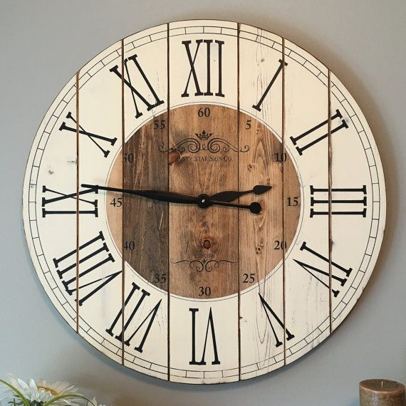 32 Inch Rustic Wall Clock Large Wooden By Rustystarsigncompany
