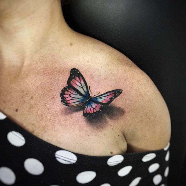 Blue 3D Butterfly Tattoo Design | 3d butterfly tattoo, Butterfly ...