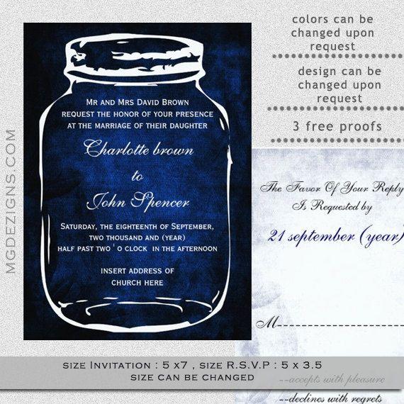 PRINTABLE Blue Mason Jar Wedding Invitation Template By MGDezigns