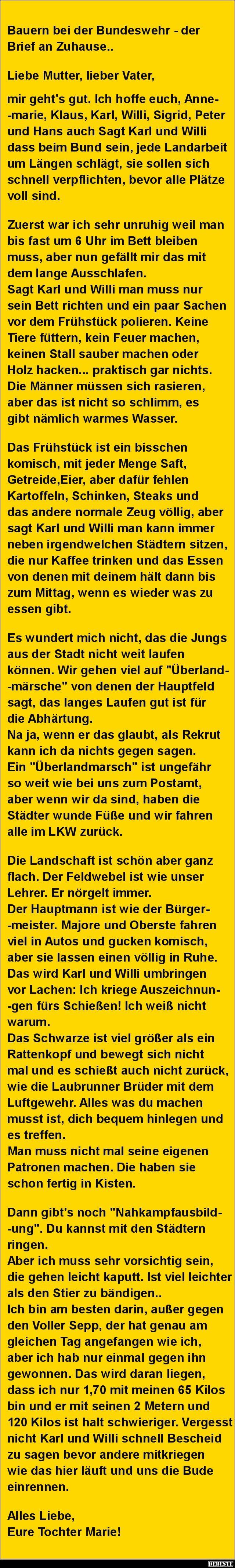 Bauern bei der Bundeswehr - der Brief an Zuhause.. | Lustige Bilder ...