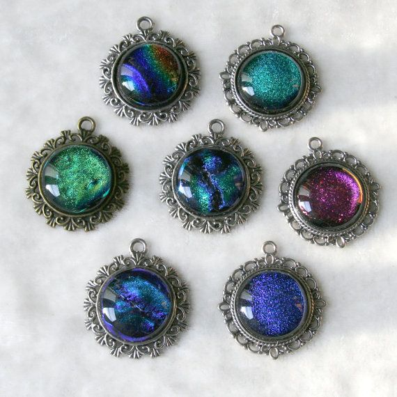 Dichroic Glass Cabochon Silver or Antiqued Brass Pendant Necklace