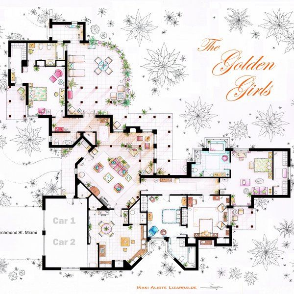 The Golden Girls House They Must Have Been Rolling In Money Too Golden Girls House Floor Plan Drawing Golden Girls