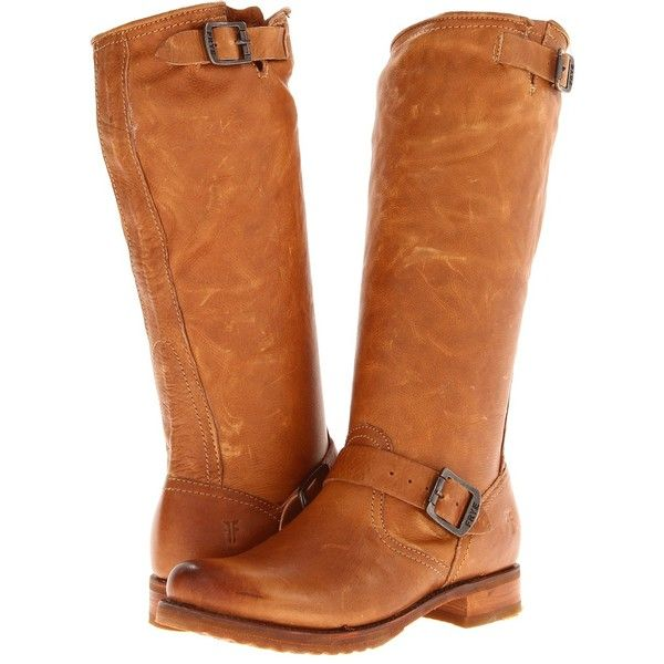 Frye Veronica Slouch (Camel Soft Vintage Leather) Women's Pull-on... ($279)  ❤ liked on Polyvore featuring shoes, boots, knee-high boots, tan, slouch  buckle ...