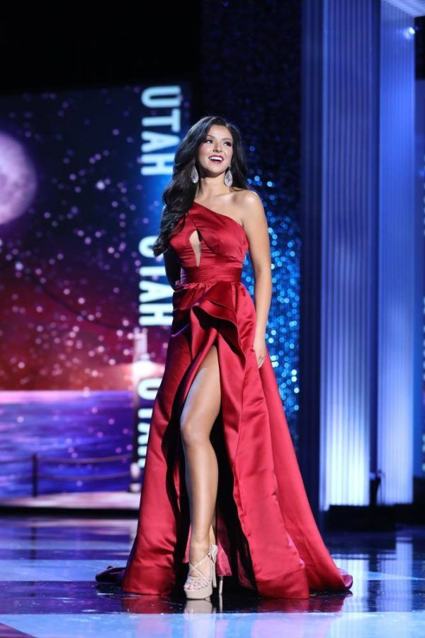 63180dcd7a6 Jessi Kate Riley shined on the Miss America stage in this beautiful Jovani  gown! Click the image to see how we rated this dress!