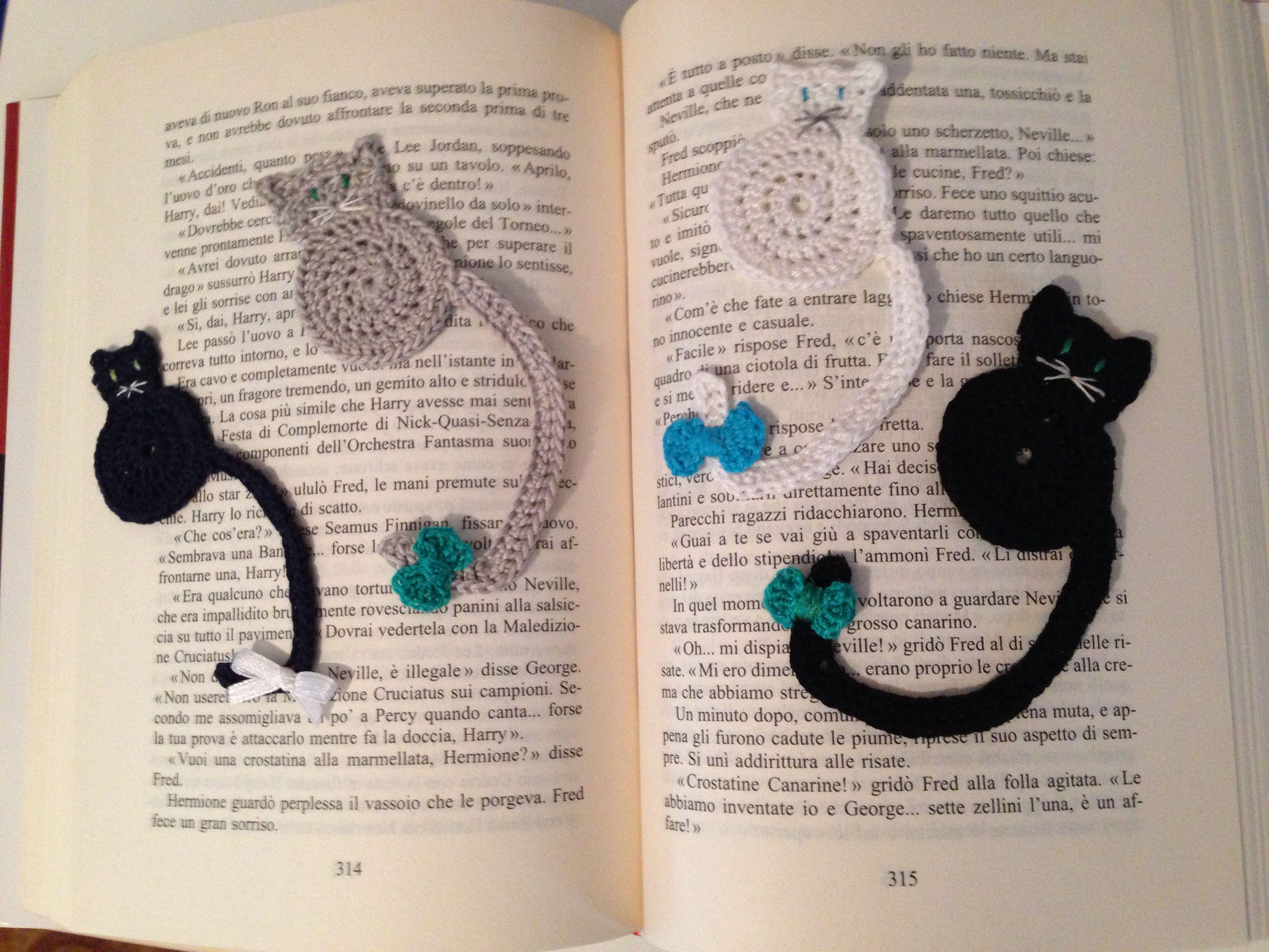 Segnalibro Bambini ~ Gatti segnalibro all uncinetto cat bookmark crochet diy