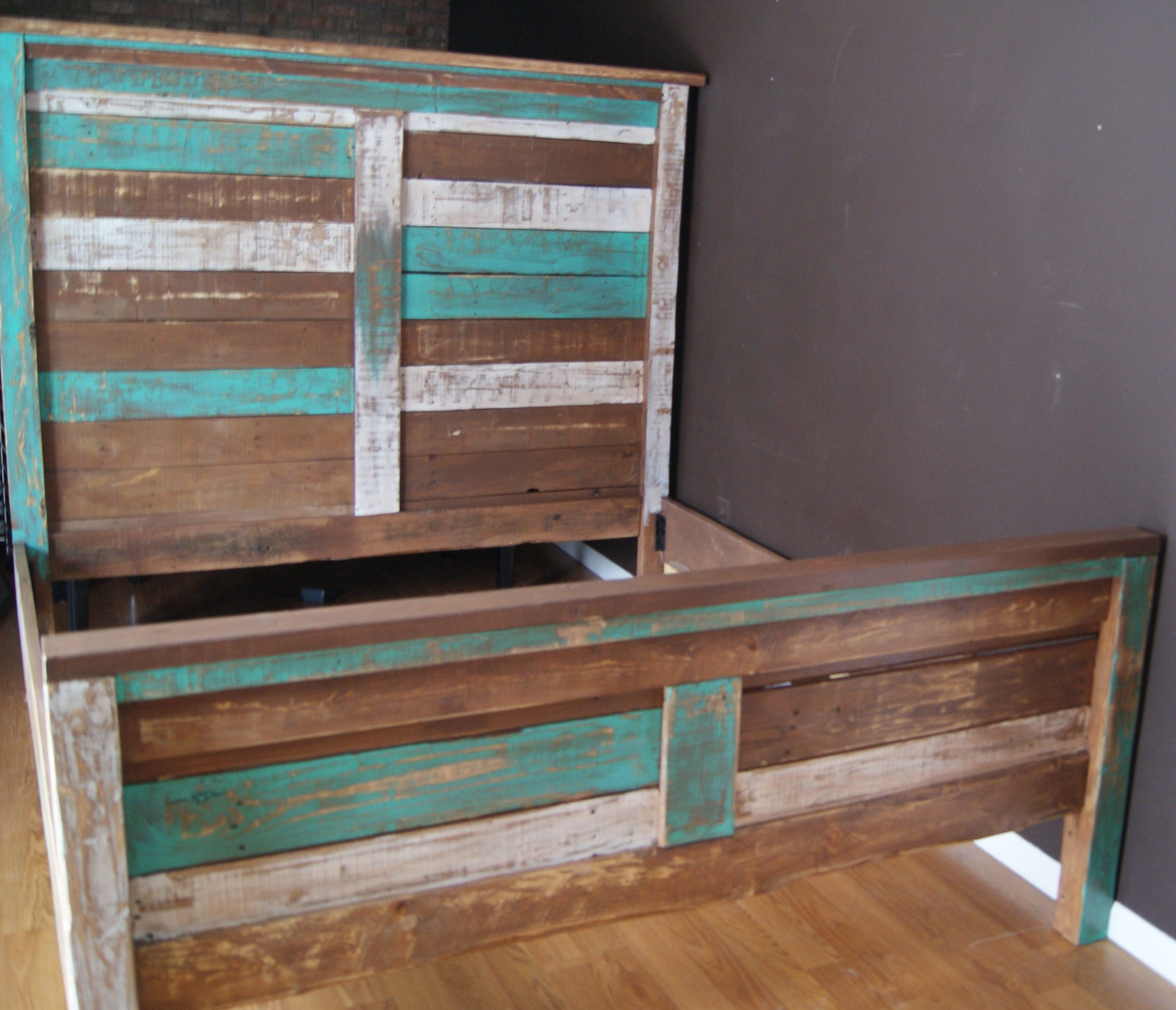 Shabby Chic Reclaimed Queen Bed Set Rustic Headboard Foot Board And Rails Reclaimed Queen Bed Distressed With Teal And White Rustic Headboard Shabby Chic Bedrooms Queen Bedding Sets