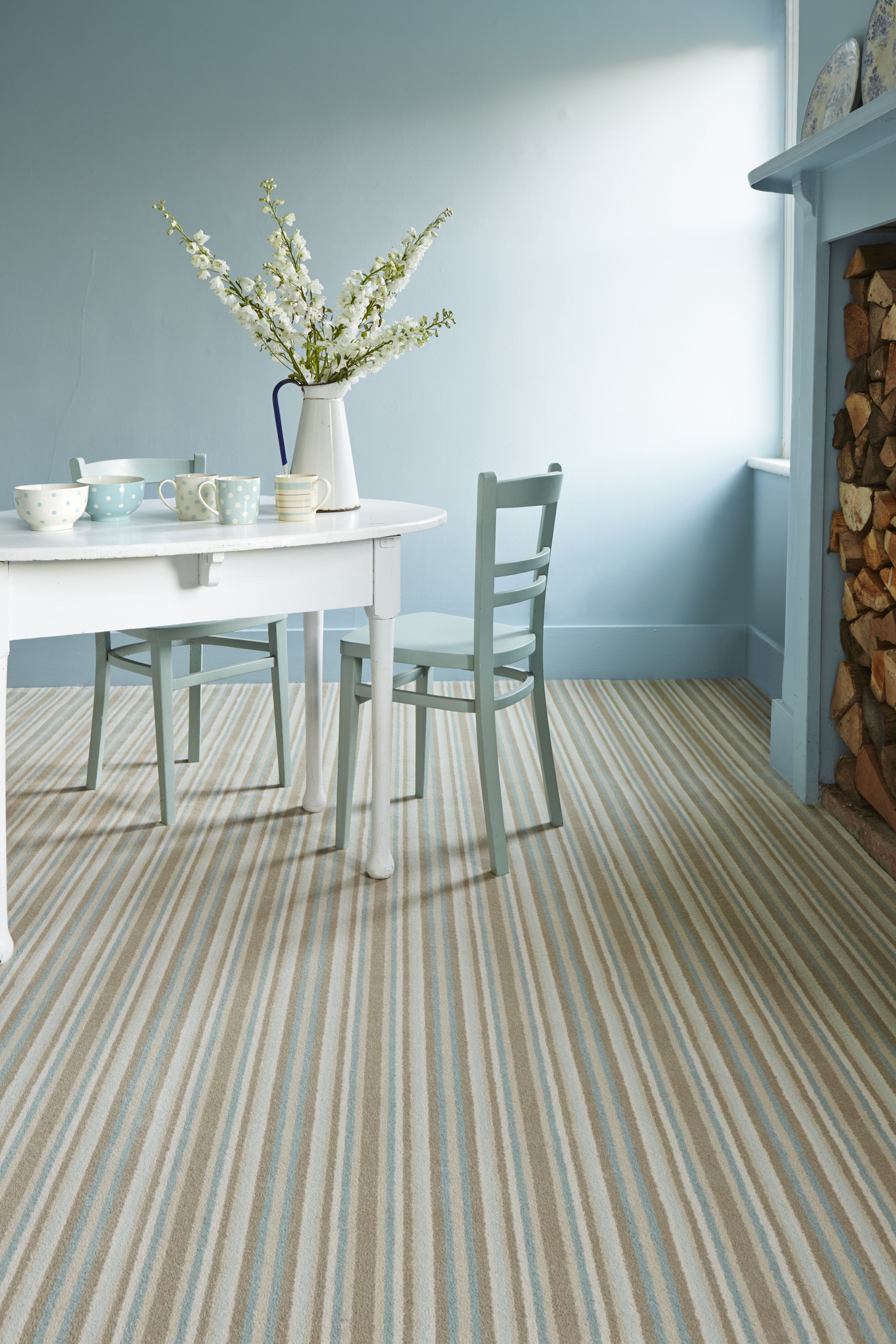 Laura Ashley Collection By Brintons Epsom Stripe Duck Egg Axminster Carpet