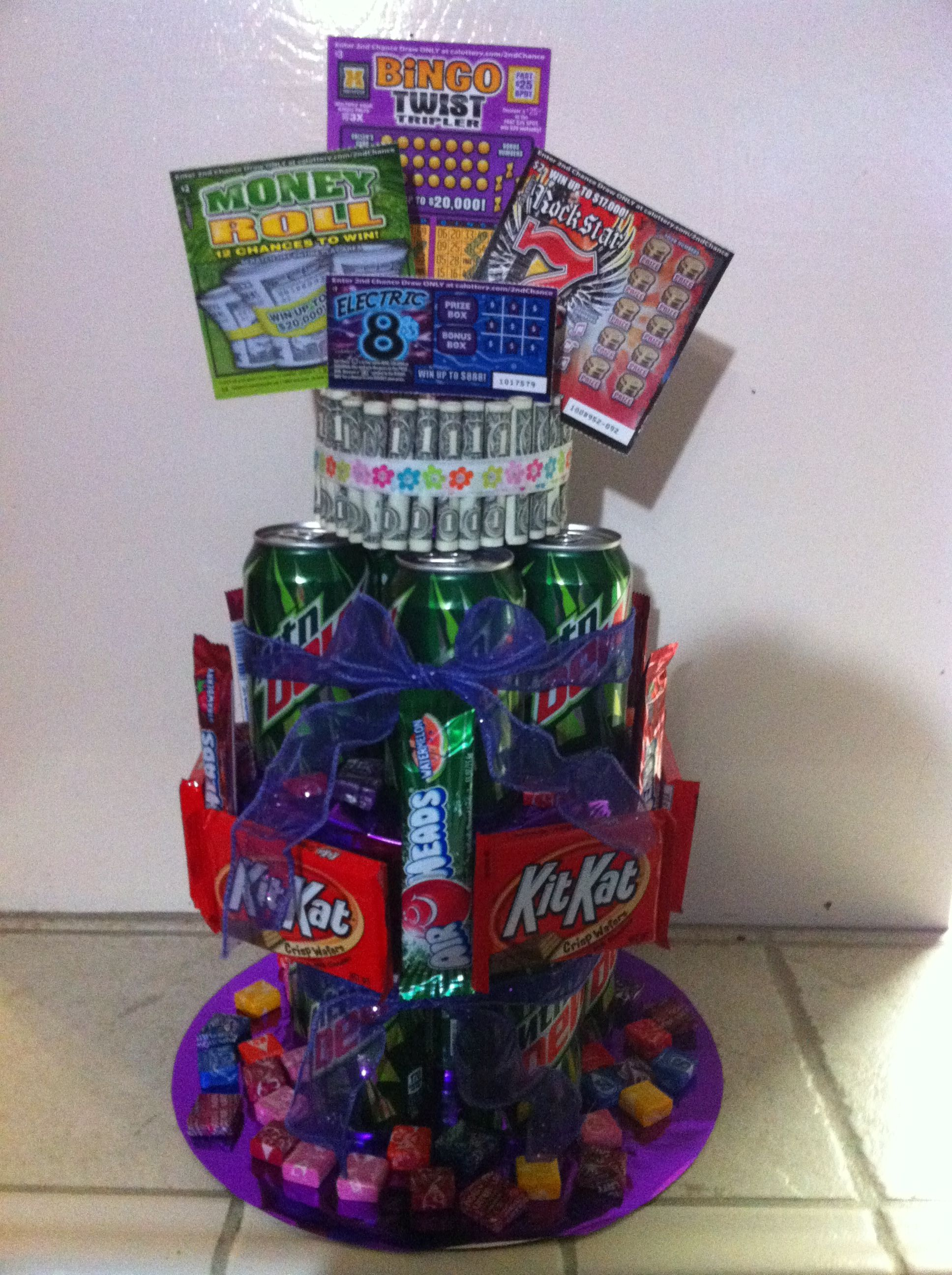 I Had Fun Creating My Niece 18th Birthday Gift In The Shape Of A 3 Tier Cake Made It With All Her Favorite Treats Soda Drink