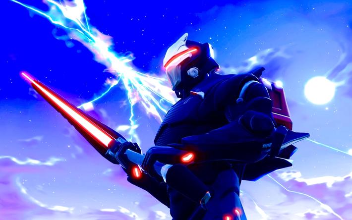 Download Wallpapers Omega Sword Warrior Fortnite 2018 Games