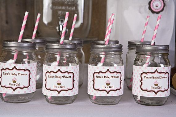 Baby Shower Water Bottle Labels   Sugar And Spice Party Decorations   Pink  U0026 Brown Cupcake