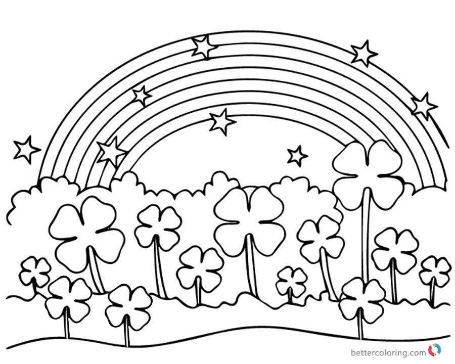 Four Leaf Clover Coloring Pages Flowers Under Rainbow Coloring