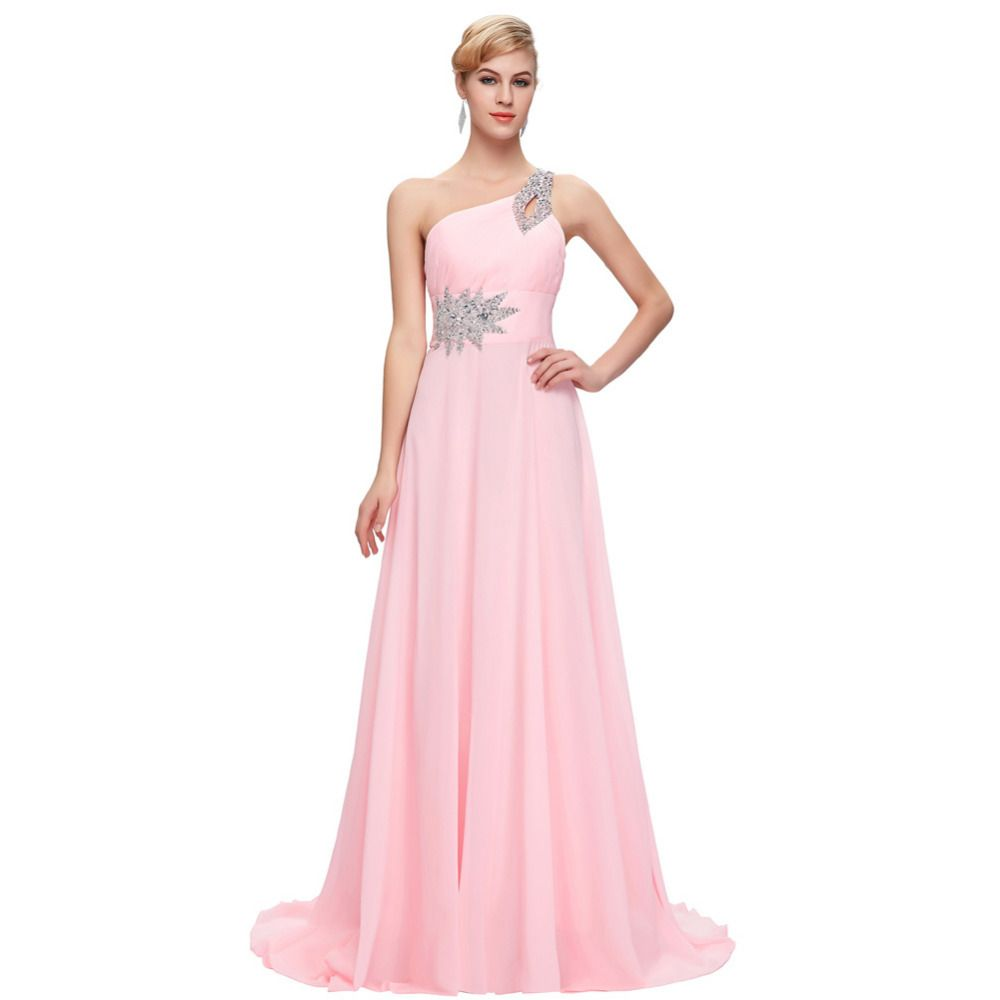 Free delivery long chiffon bridesmaid dresses one shoulder beading