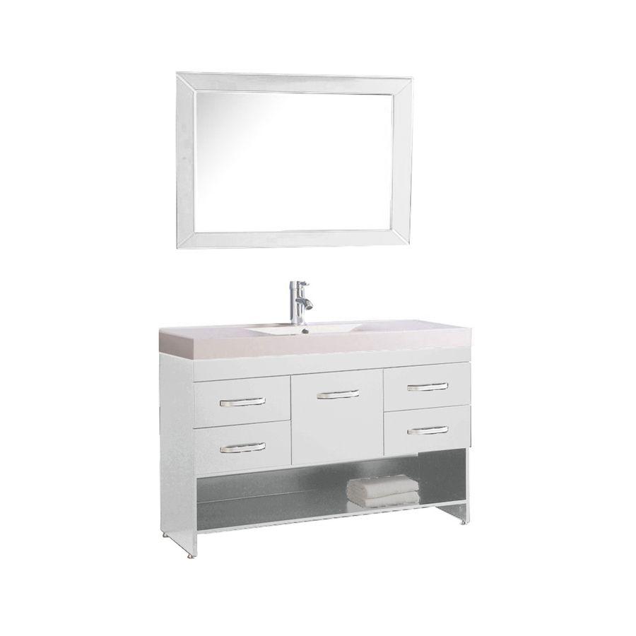 MTD Vanities Greece White 47.2-in Integral Single Sink Oak