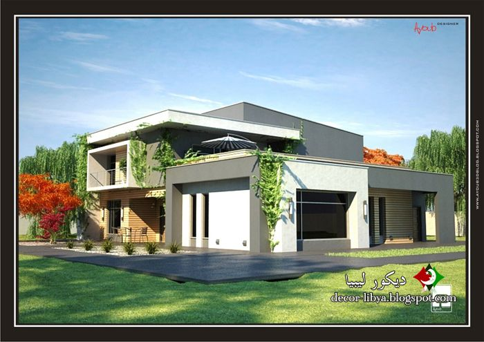 تصاميم منازل فيلات حديثه مودرن تشكيلات روعه Designs Houses Villas Modern ديكور ليبيا House Styles House Design Villa